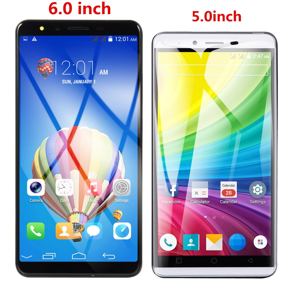 5.0 inch /6.0 Inch Screen Android Phone 4GB+32GB Bluetooth Wifi Camera Mobile Phone Quad Core 3G SmartPhone