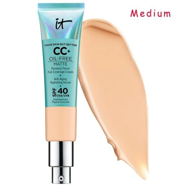 It Cosmetics Your Skin But Better Concealer Cream Matter Oil-Free Makeup Base Full Cover Dark Circle Eyes SPF 40 Make Up Skin Brighten Cream  CC