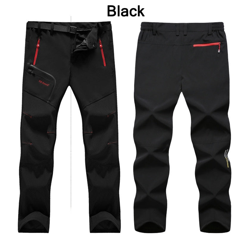 New Mens Spring Outdoor Thin Waterproof Hiking Trousers Breathable Camping Climbing Fishing Trekking Softshell Fleece Pants