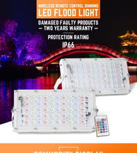 Load image into Gallery viewer, Remote Control RGB 50W LED 30000LM 50LED Flood Light IP66 Waterproof Spot Outdoor Lamp White Light Outdoor Garden Yard Landscape
