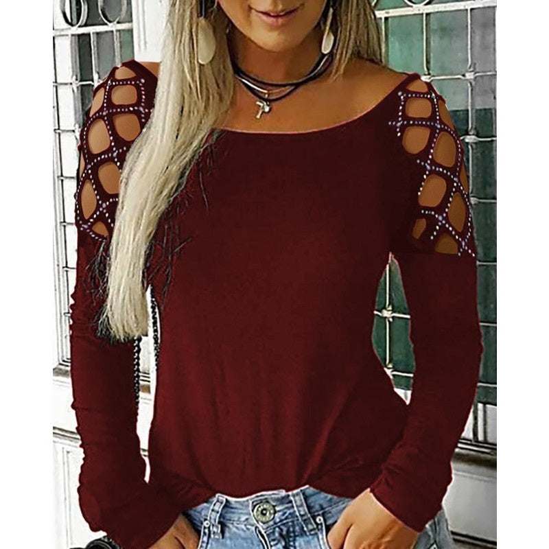 Womens Cold Shoulder Long Sleeve Blouse Tee Ladies Casual Slim Fit Tops T-Shirt Autumn Shirts