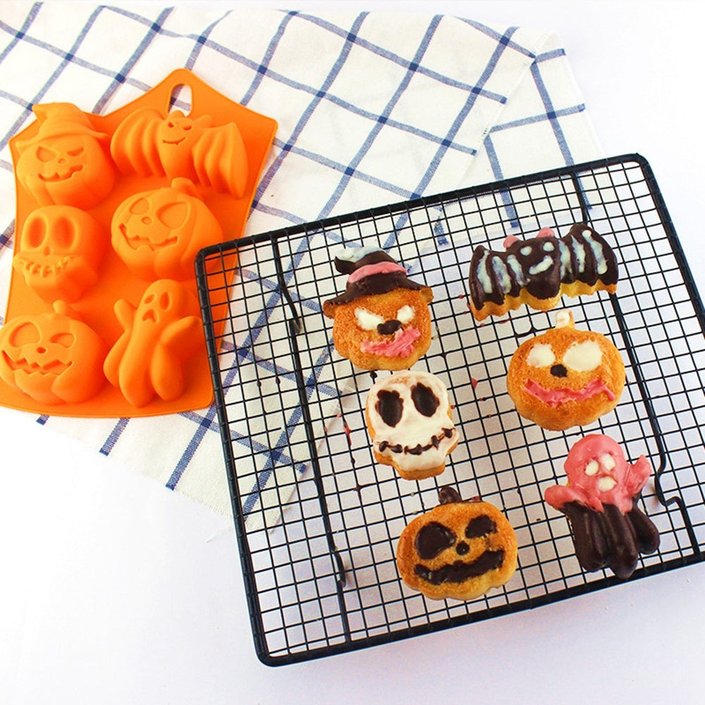 Halloween Creative Cooking Chocolate Home Pumpkin Ghost Bat Shape  Silicone Mold  Bake Tools Bakeware Cake decorating Mould