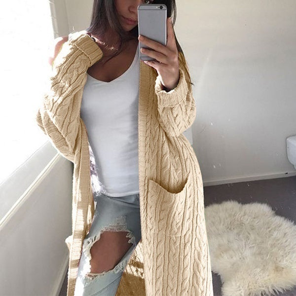 Womens Casual Loose Long Sleeve Solid Color Cardigans Sweaters Long Cardigan Coats Knitted Cardigans Sweaters Coats Outwear