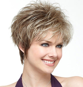 woman Fashion Synthetic wig middle age daily Wig Short Haircut Curly Mixed color Ombre Blonde Wigs Short Hair Mother sexy wigs