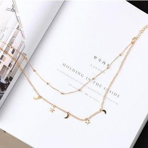 2019 New Simple Style Double Layer Star Moon Choker Necklace Bead Clavicle Chain Jewelry