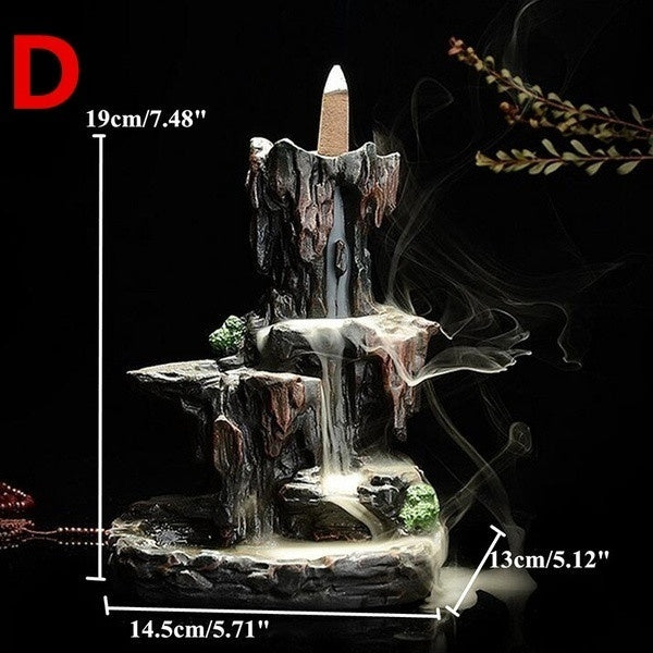 2019 New Waterfall  Backflow Incense Burner Mountain Tower Incense Holders for Home Office Decor (with 50 Cones)
