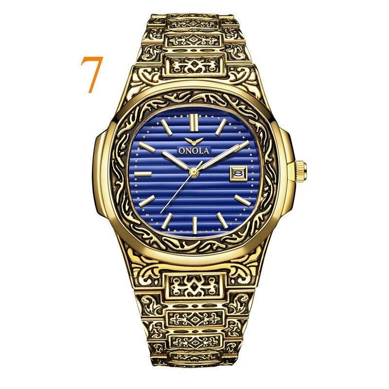 Brand ONOLA Fashion Classic Design Retro Style Waterproof gold Steel Watch for Men and Women