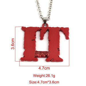 Horror Halloween Stephen King IT Necklace Keychain Vintage Red Pendant Accessories Friend Gift