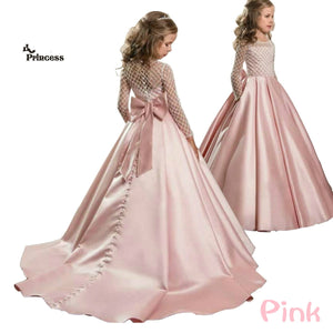 2019 Summer Bridesmaid Long Sleeve Trailing Princess Dress Elegant Satin Kids Dresses For Girls Children Party And Wedding Dress