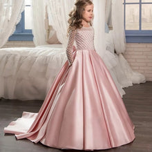 Load image into Gallery viewer, 2019 Summer Bridesmaid Long Sleeve Trailing Princess Dress Elegant Satin Kids Dresses For Girls Children Party And Wedding Dress
