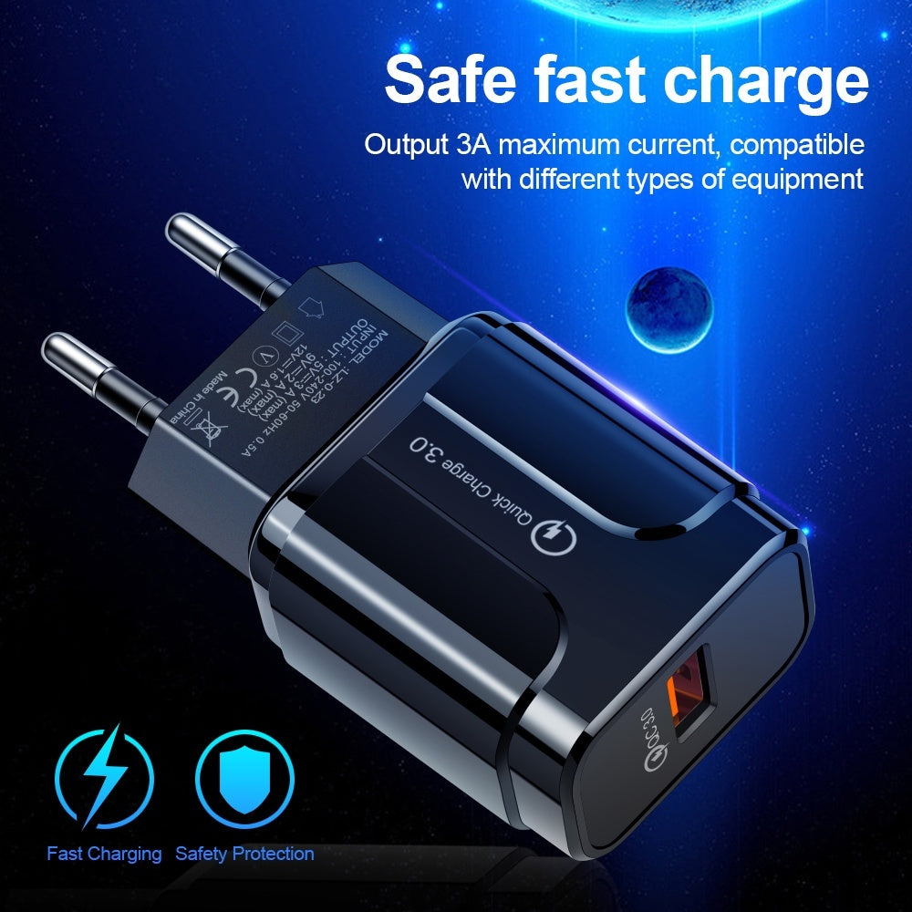 18W Quick Charge 3.0 USB Charger EU US 5V 3A Fast Charging Mobile Phone Charger For iphone Huawei Samsung Xiaomi Adapter