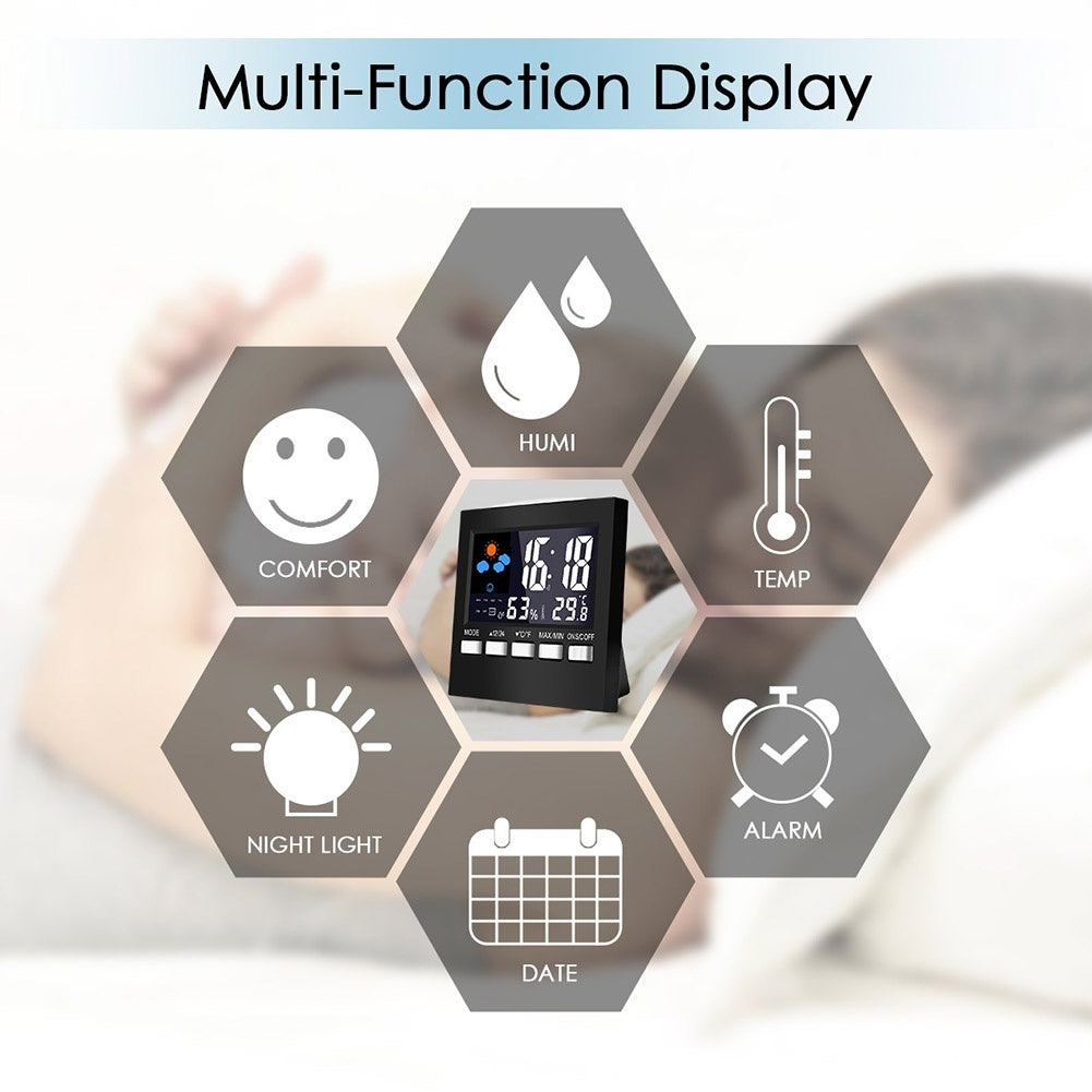 Multi-function Digital Indoor Temperature Humidity Weather Station Thermometer Fahrenheit and Celsius Voice Control LCD Display Screen