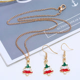 Cute cartoon drop oil color Christmas tree Christmas gift earrings necklace set 3pcs