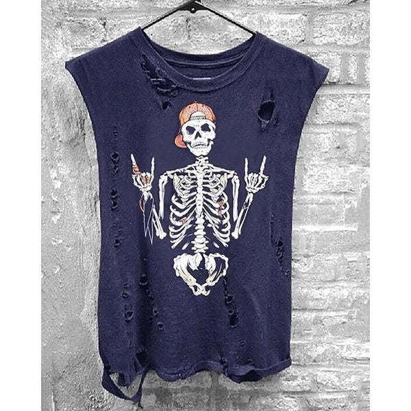 New Fashion Gothic Punk Tank Tops Skull Print Sleeveless T-shirts Workout Fitness Hollow Casual Street Tees Funny Cute Hole Vest Hot Summer O-neck Cotton T-shirts Tops Plus Size 3 Colors Top Samp Tee