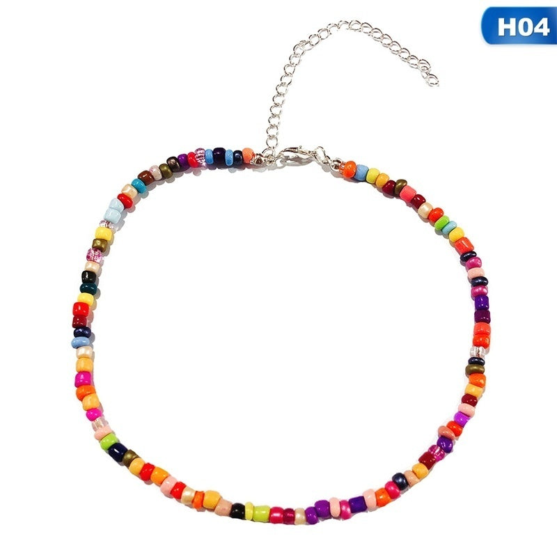 2Pcs Seed Bead Choker Necklace Tiny Beaded Choker Boho Colorful Choker Necklace Chain Jewelry For Women And Girls Adjustable 12-16 Inches