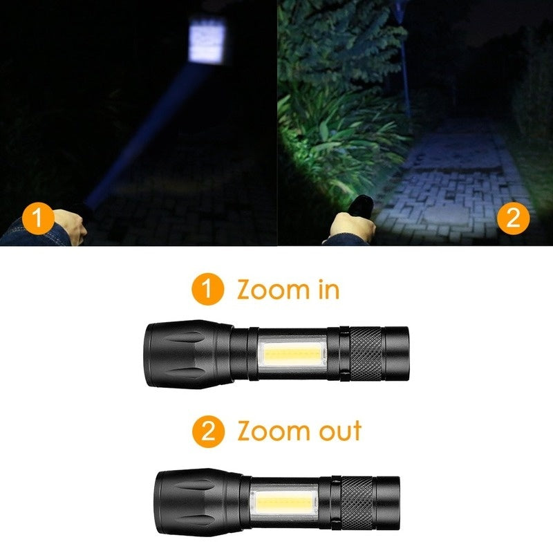 Super Bright T6+COB 4Modes Front + Side Flashlight Rechargeable Telescopic Zoom Torch Mini LED Light