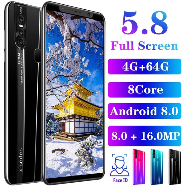 Smartphone with 4GB + 64GB Laege Memory Smartphone with face/fingerprint lock Dual SIM card phone support T card smartphone 8 core