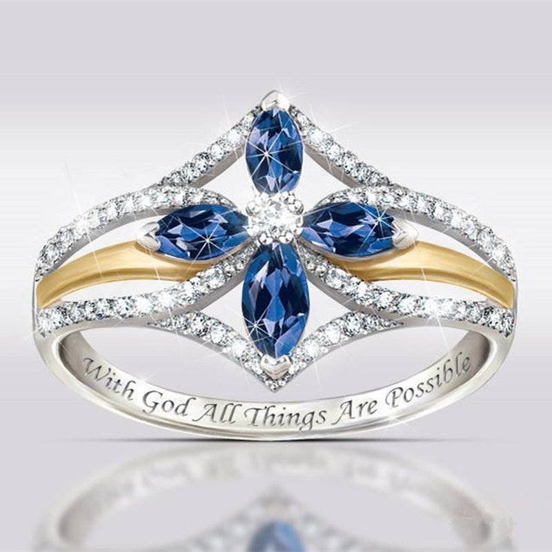 With God, All Things Are Possible' 925 Sterling Silver Rings Sapphire and White Topaz Cross Ring Two Tone 18K Yellow Gold Diamond Jewelry Cross Flower Ring Symbols of God's Love and The Faith You Hold In Your Heart Engagement Wedding Gifts for Women