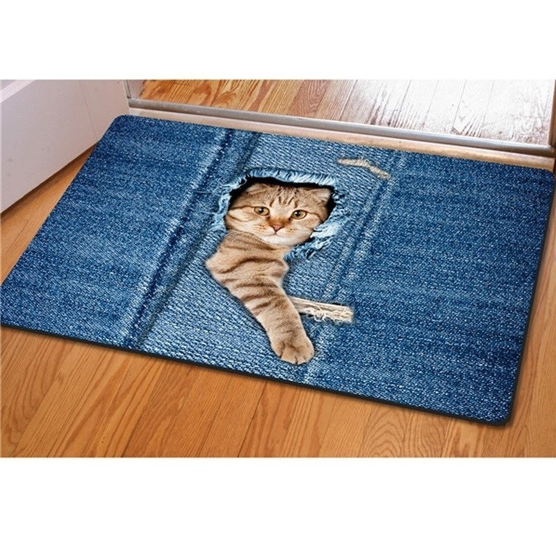 Fashion Kawaii Floor Mats Animal Cute Cat Dog Print Bathroom Kitchen Carpet House Doormats for Living Room Anti-Slip