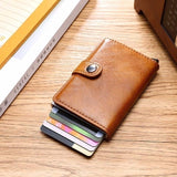 Fashion Men's Leather Slim Money Clip Front Pocket Wallet Thin New Holder Credit Card Business Card Holders Cardpackage