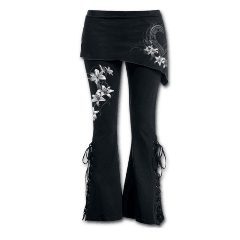 New Fashion Women's Pants Black Embroidered Leggings Casual Bandage Flares Punk Lace Up Bell Bottoms Leggings