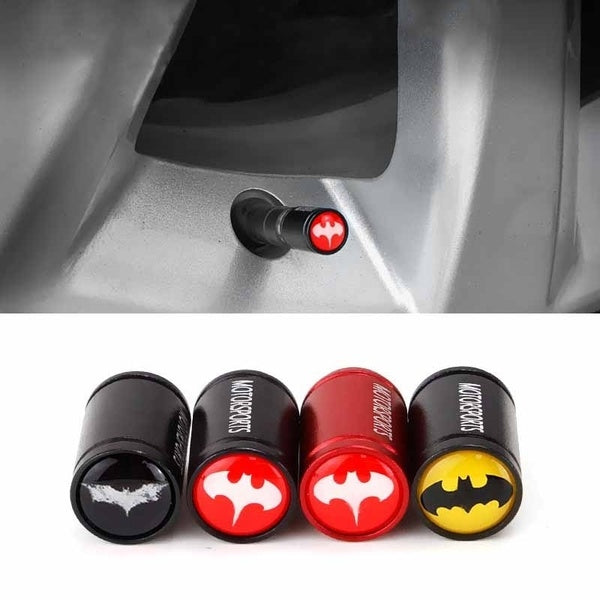 For Bat Logo Auto Decoration Tire Valve Stem Cap Dust Proof Cover Wheel Accessories for All Car