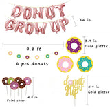 60 Pcs Donut Grow Up Party Decoration Kit-Doughnut Birthday Party Supply Party Favor Pack with Rose Red Donut Grow Up Banner Latex Balloon Foil balloon Multicolored Confetti Balloon Agate Balloon Donut Cupcake Topper for Boy Girl Kids