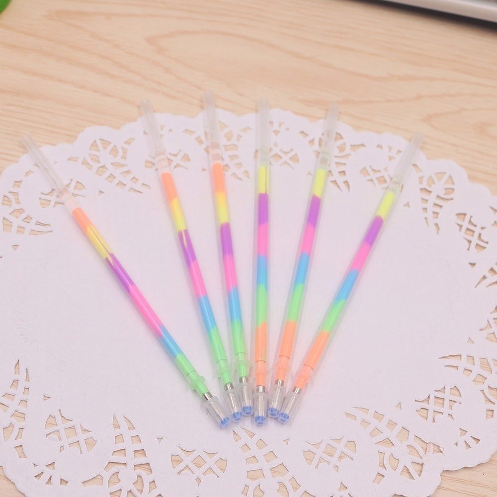 20Pcs New Multi Color Rainbow Refill Highlighters Gel Pen School Supplies