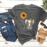 New Summer Women's Fashion Short Sleeve Round Neck Cute Small Elephant Flower Graphic Printed T Shirts Casual Tee Ladies Tops S-XXXL
