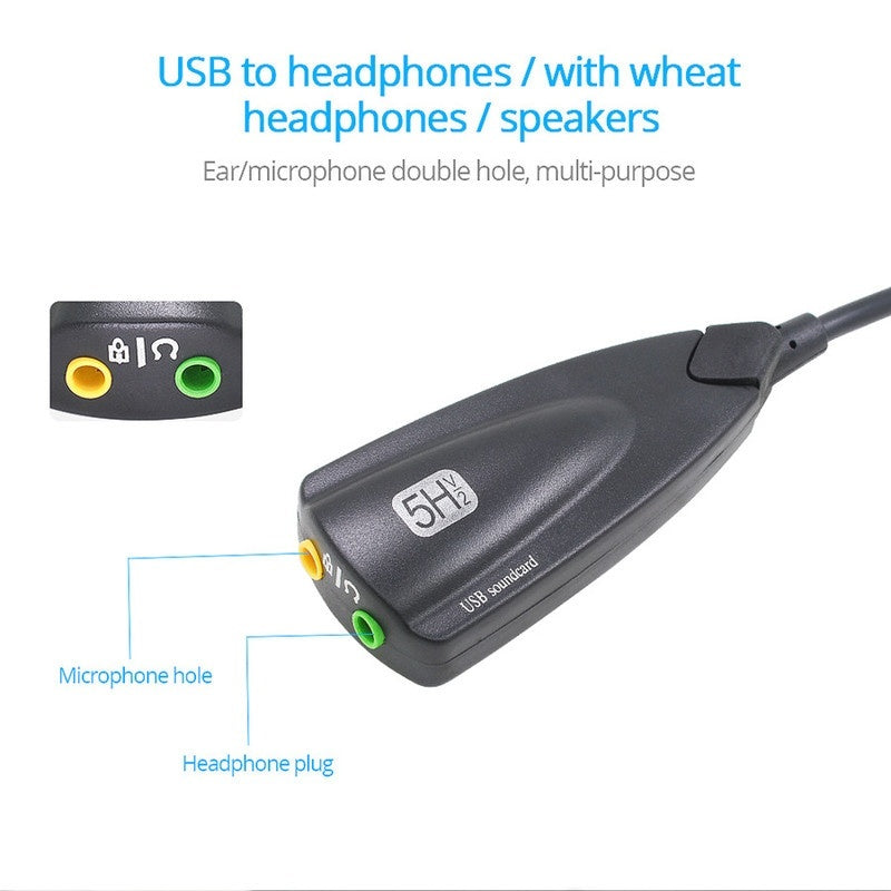 Promotion 5HV2 External usb sound card 7.1 with 3.5mm audio interface adapter for headphone speakers laptop Computer PC