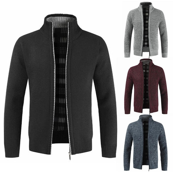 Winter Men's Simple Cardigan Sweater Slim Mens Knit Shirt Jackets