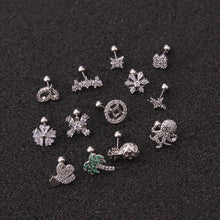 Load image into Gallery viewer, Creative 1Pc Silver Tragus Earring Star Coin Cactus Octopus Zircon Helix Cartilage Earring Body Piercing Jewelry Fashion Accessories
