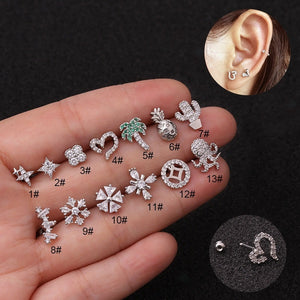 Creative 1Pc Silver Tragus Earring Star Coin Cactus Octopus Zircon Helix Cartilage Earring Body Piercing Jewelry Fashion Accessories