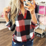 Women Cotton Long Sleeve Plaid Causal Shirt Women V Neck Blouse Plus Size Tops Autumn Fashion Ol Style Office T-shirt