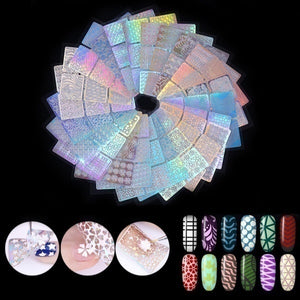 12 Sheet/24 Sheet Nail Art Vinyl Stencil Guide Sticker Manicure Curved Wave Laser Tip