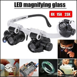 New 8x 15x 23x Magnification Double Eye Loupe Head-Mounted Repair LED Magnifying Glass Magnifier with LED Light for Jewellery/Watch/Clock Repair