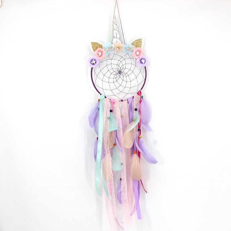 Handmade Feathers Dream Catcher with Lights  Wall Hanging Ornaments Birthday Graduation Gift Wall Hanging Decor for Car Bedroom Decoration