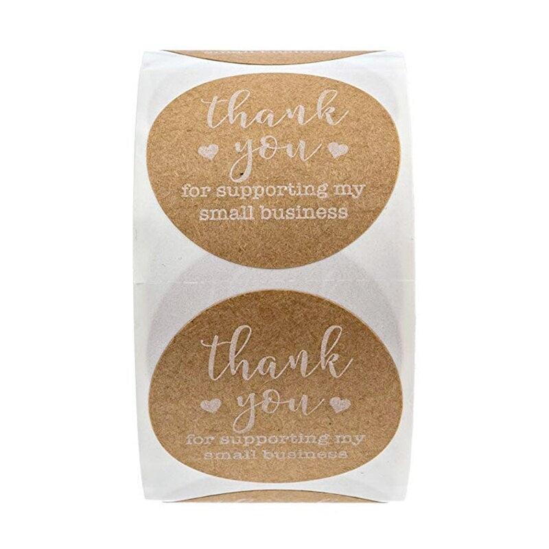 500Pcs/roll Round Kraft label sticker Thank You for Supporting My Small Business Stickers for stationery sticker scrapbooking