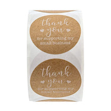 Load image into Gallery viewer, 500Pcs/roll Round Kraft label sticker Thank You for Supporting My Small Business Stickers for stationery sticker scrapbooking