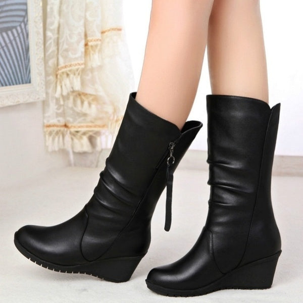 2019 Autumn Boots Wedges Round Head Boots Large Size Women's Shoes PLUS SIZE