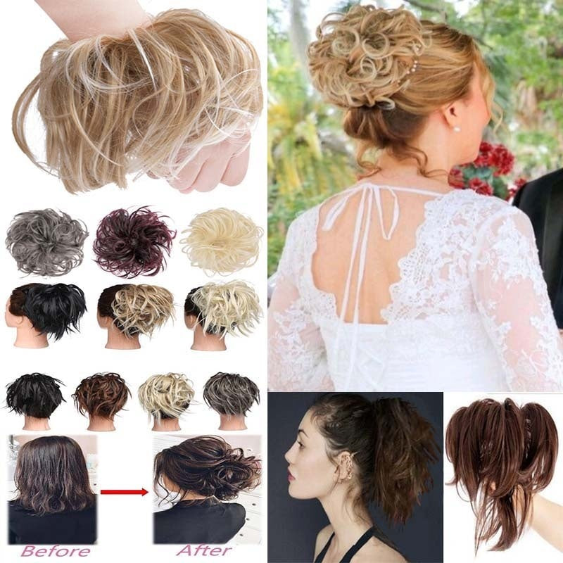 2019 Fashion 12 Colors Women Chignon Pony Tail Hair Extension Bun Fashion Hairpiece Scrunchie Elastic Wave Curly Synthetic Wrap