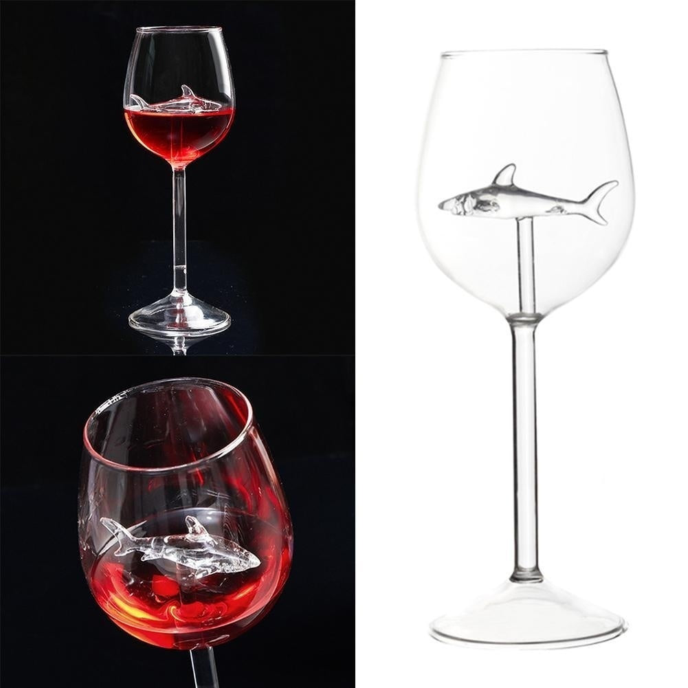 1PCS Shark Glass Metal Red Wine Glass Goblet Whiskey Cup Special Gift