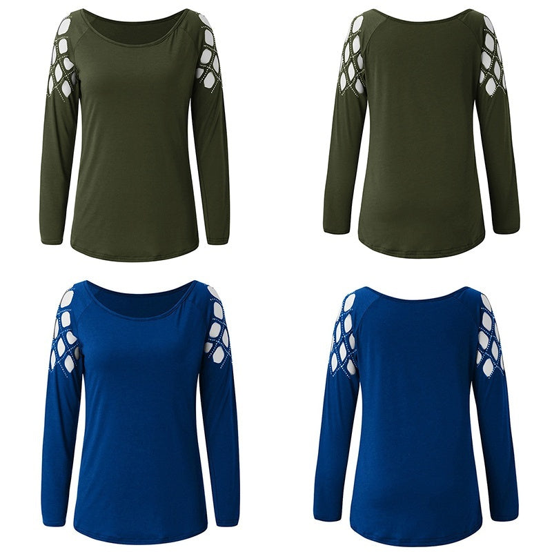 Women Fashion Hollow-Out Blouse Studded Long Sleeve T Shirts Ladies Casual Tops Plus Size XS-5XL