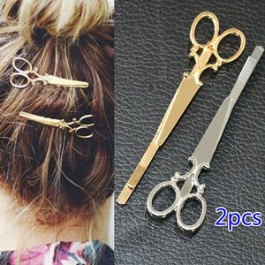 2pcs Simple Personality Style Small Scissors Women's Hair Clips  Hair Accessory