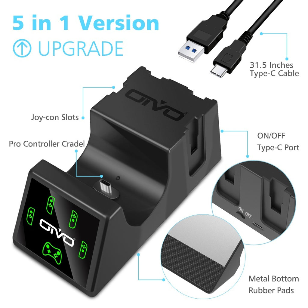 OIVO 5 in 1 Joy-Con Controller Charger and Pro Controller Charging Dock for Nintendo Switch, Fast Charger Docking Station for Nintendo Switch with 2.8FT Type-C Charging Cable