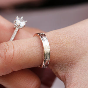 New Creative Two Color 925 Silver Plated &18K Gold  Filled Beautiful White Topaz Rings