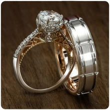 Load image into Gallery viewer, New Creative Two Color 925 Silver Plated &18K Gold  Filled Beautiful White Topaz Rings