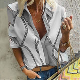 Women Chain Printed Casual Lapel Collar Long Sleeves Plus Size T-Shirt Slim Fit Cotton Blouse