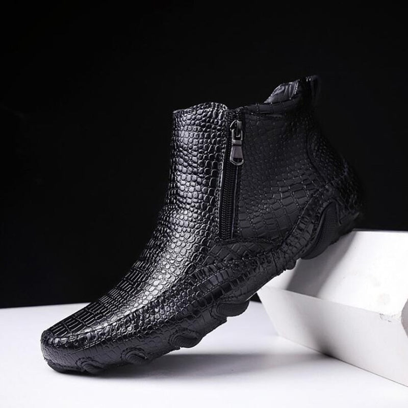 New Men's Fashion Alligator Shoes Ankle Boots Casual Leather Shoes Martin Boots Casual Shoes Plus Size 38-47