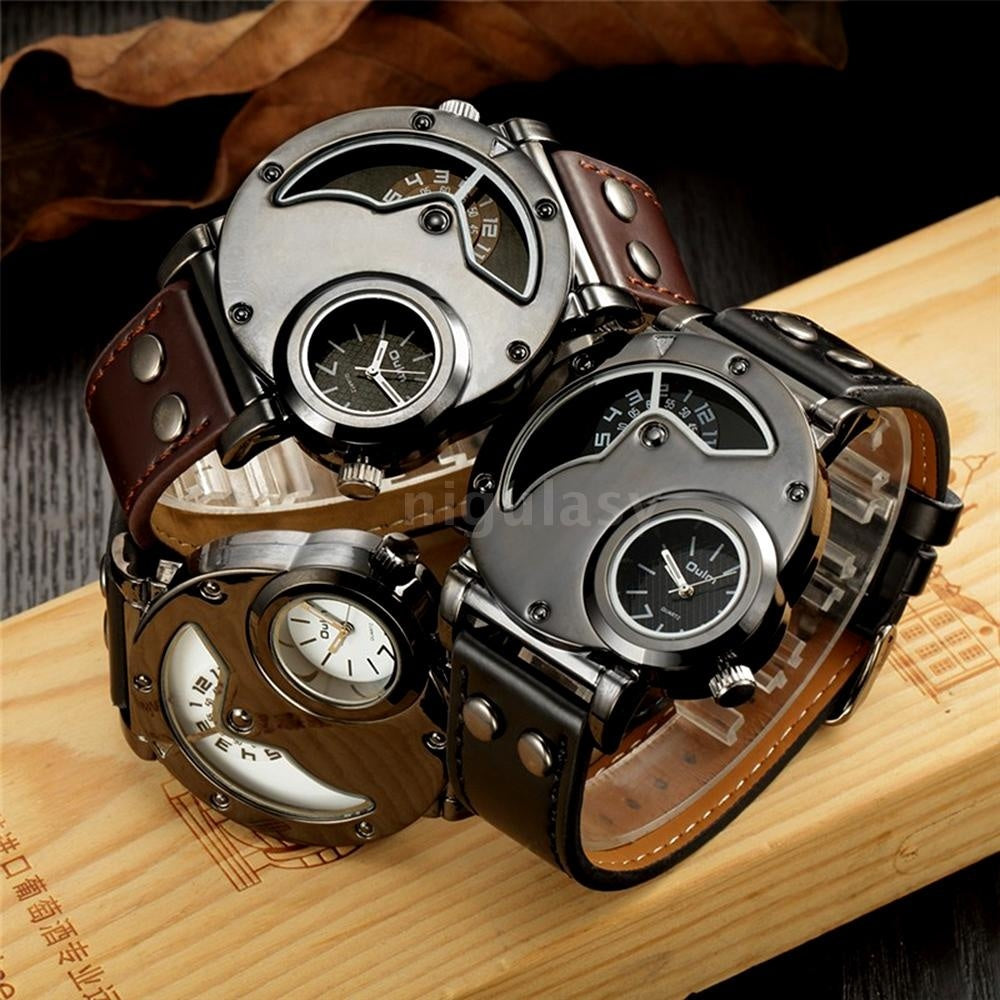 OULM Brand Luxury Men Watches Stainless Steel Big Face Dual Time Leather Quartz Watch Men's Watches Montre Homme